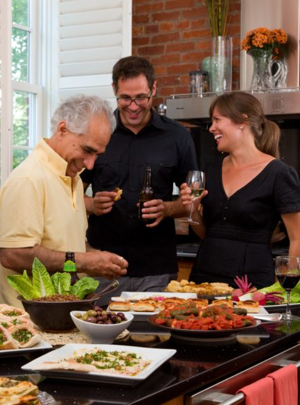Guests gather for wine and hors hors d'oeuvres at Embassy Circle Guest House